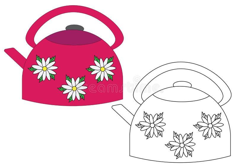 Книжка-раскраска, чайник иллюстрация вектора. иллюстрации ...