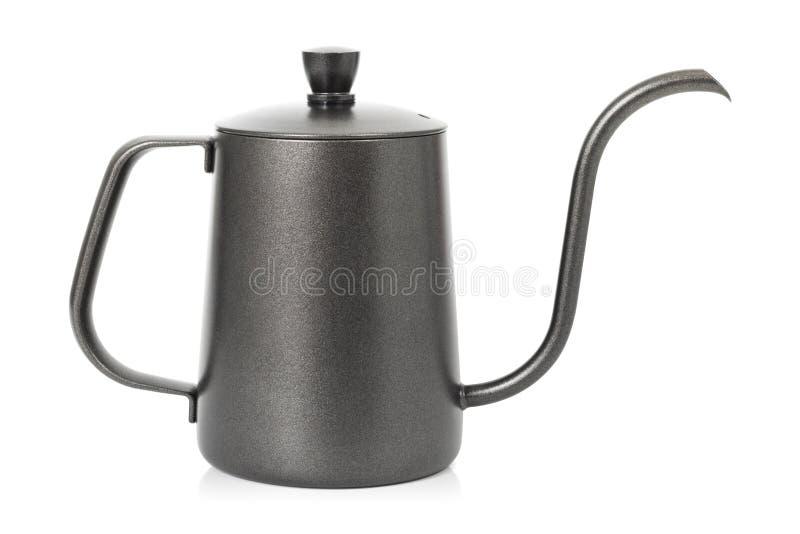 Чайник кофе изолированный на белой предпосылке Чайник с ручкой Путь клиппирования стоковые фото