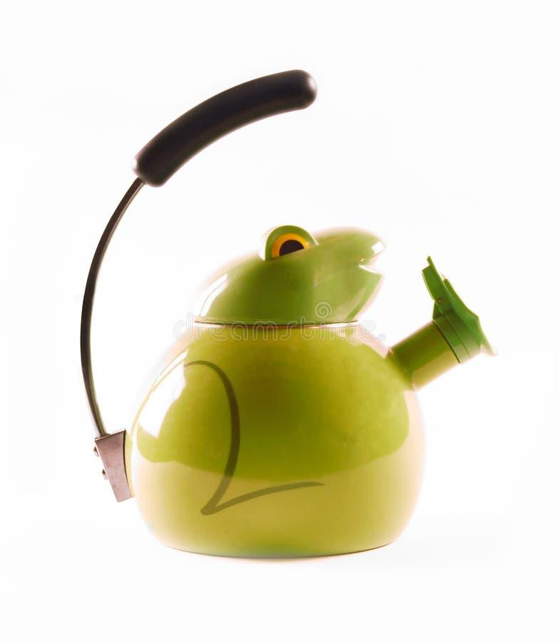 чайник лягушки зеленый стоковое фото rf