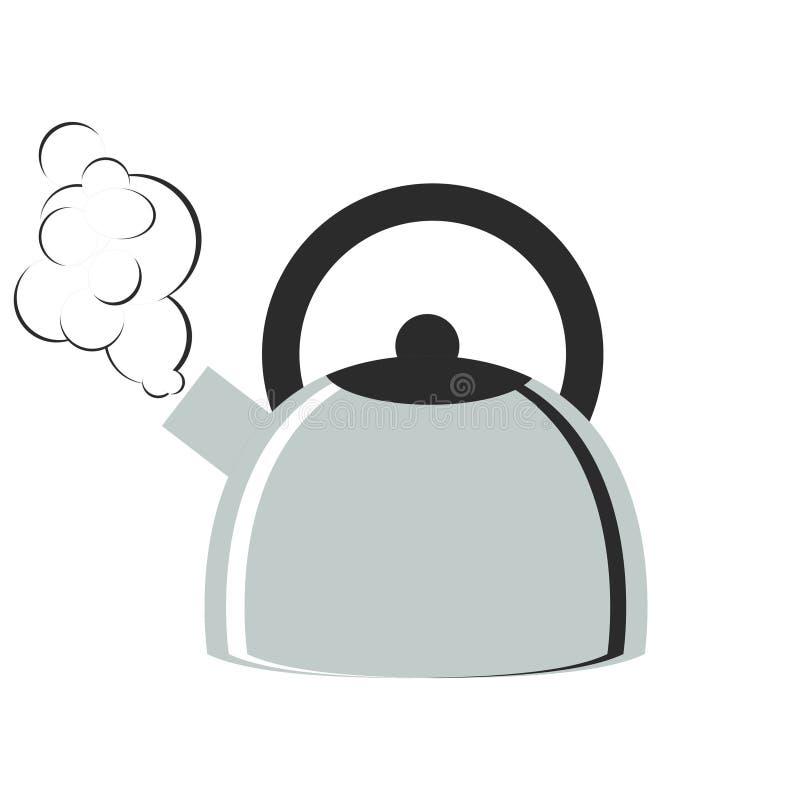 Чайник металла кипя иллюстрация вектора