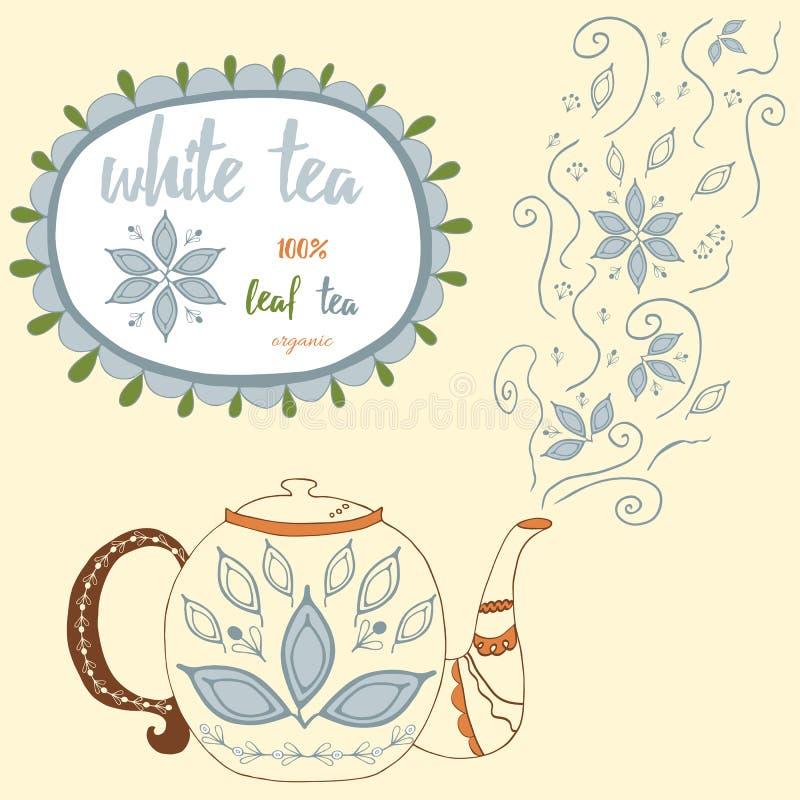 Чайник нарисованный рукой с белым чаем Совершенный пар с листьями и цветками чая doodle иллюстрация вектора