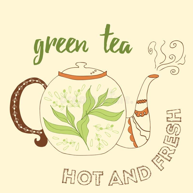 Чайник нарисованный рукой с зеленым чаем бесплатная иллюстрация