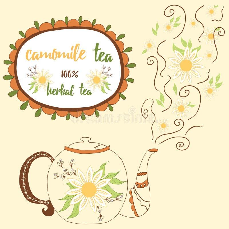 Чайник нарисованный рукой с чаем стоцвета Совершенный пар с цветками бесплатная иллюстрация
