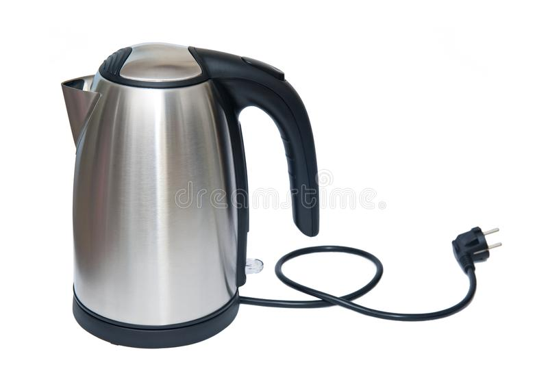 Чайник нержавеющей стали электрический изолированный на белизне стоковое фото rf