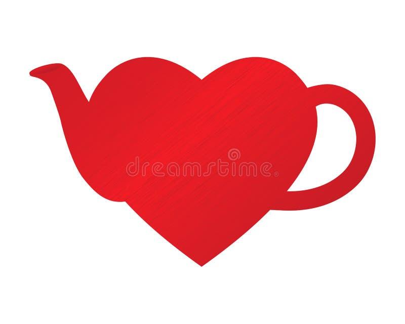 чайник сердца иллюстрация штока