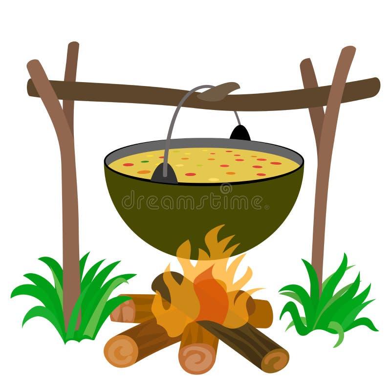 Чайник супа в лагерном костере иллюстрация вектора