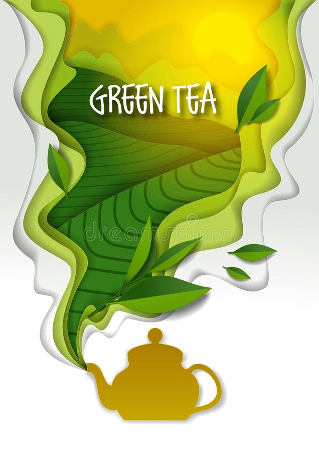 Чайник с ароматичным зеленым чаем, иллюстрацией искусства вектора бумажной бесплатная иллюстрация