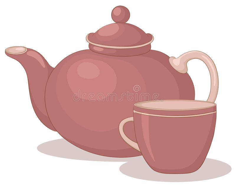 чайник чашки иллюстрация штока