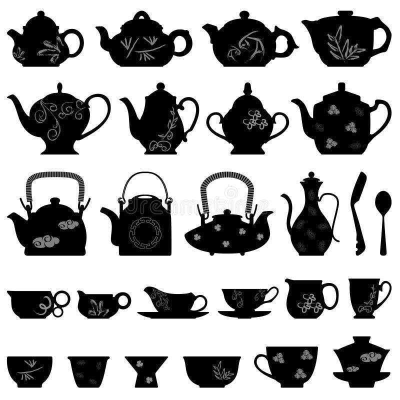 чайник чая азиатской китайской чашки японский востоковедный иллюстрация штока