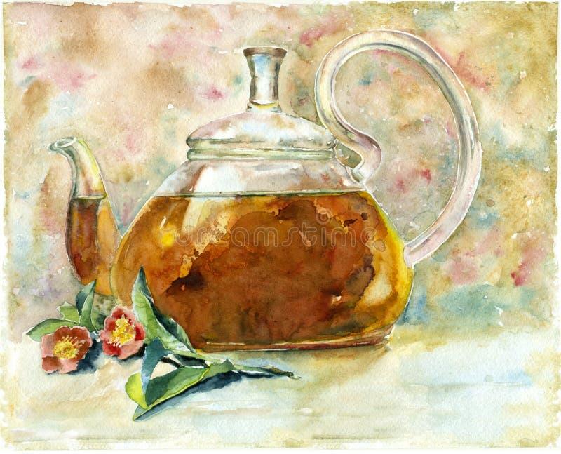 Чай акварели в чайнике бесплатная иллюстрация