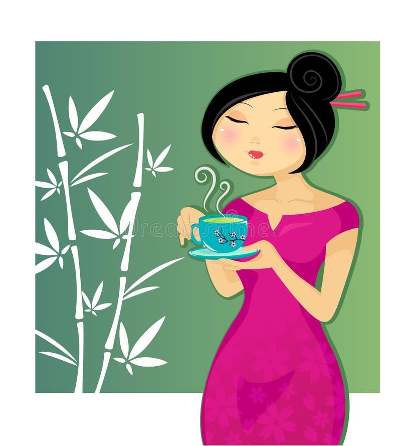 чай девушки выпивая иллюстрация штока