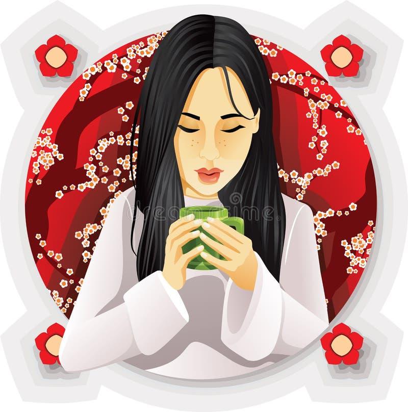 Чай девушки выпивая иллюстрация вектора