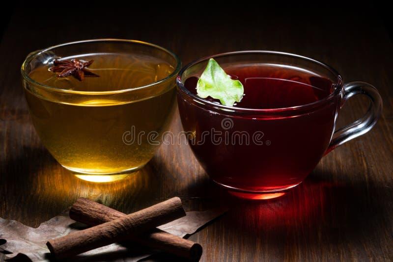 Чай зеленого конца красный стоковые фото