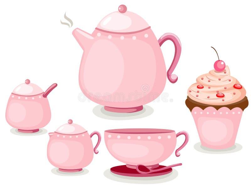 чай кофейной чашки торта установленный иллюстрация штока
