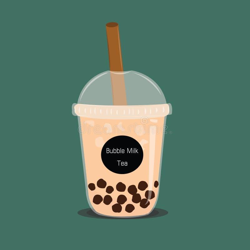 Чай молока пузыря Черный чай молока жемчуга известный вектор напитка большой и небольшой чашки иллюстрация вектора