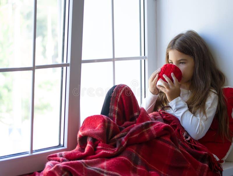 Чай питья девушки стоковое изображение rf