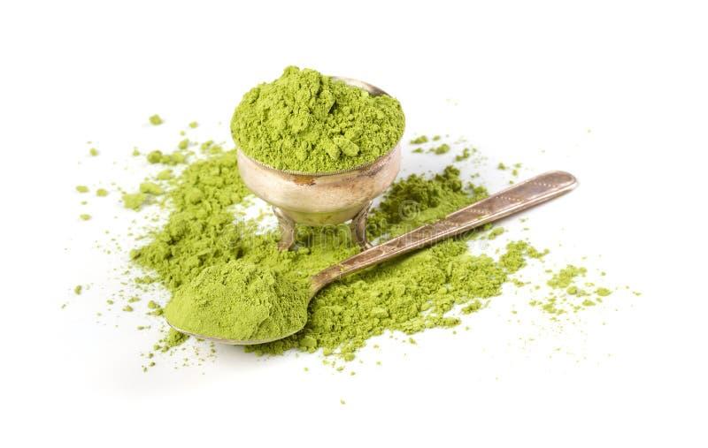 Чай порошка зеленый стоковые изображения rf