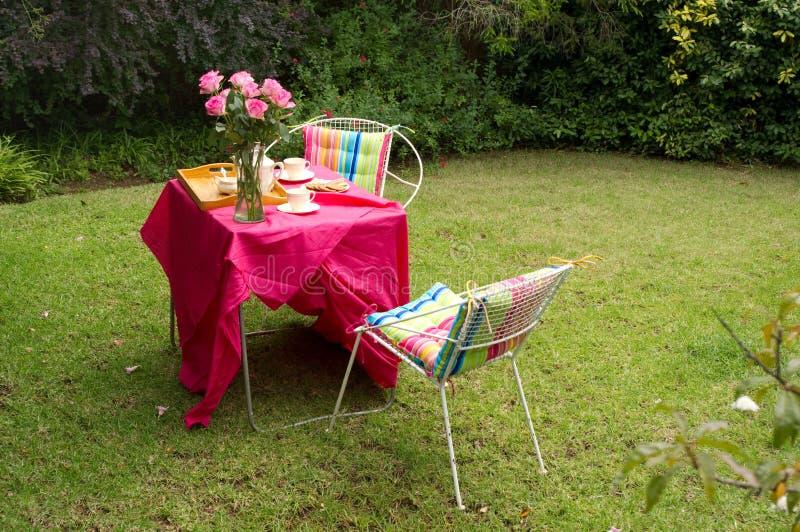 чай приём гостей в саду стоковые изображения
