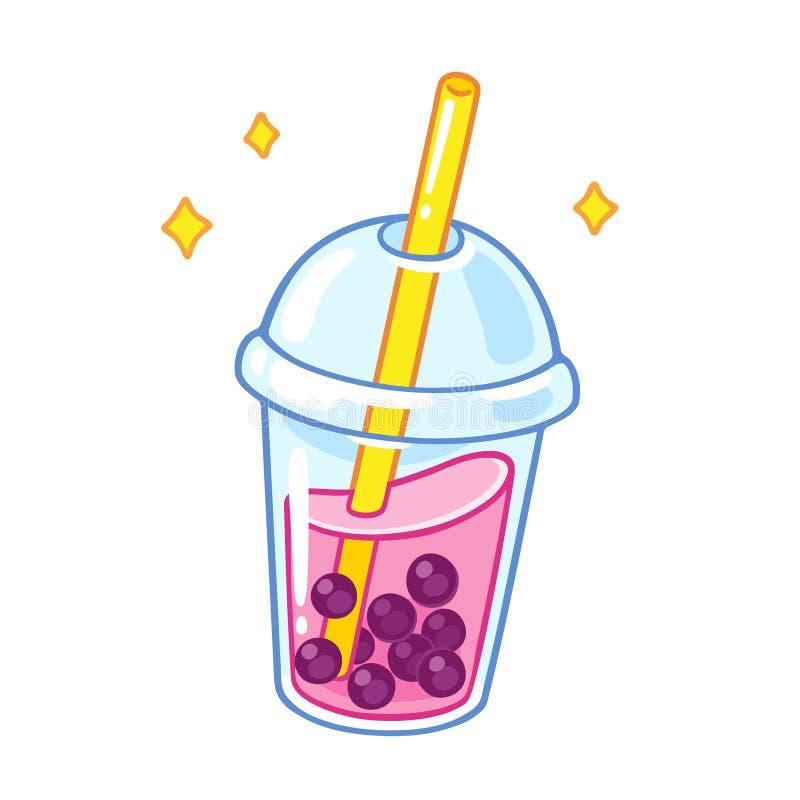 Чай пузыря шаржа иллюстрация вектора