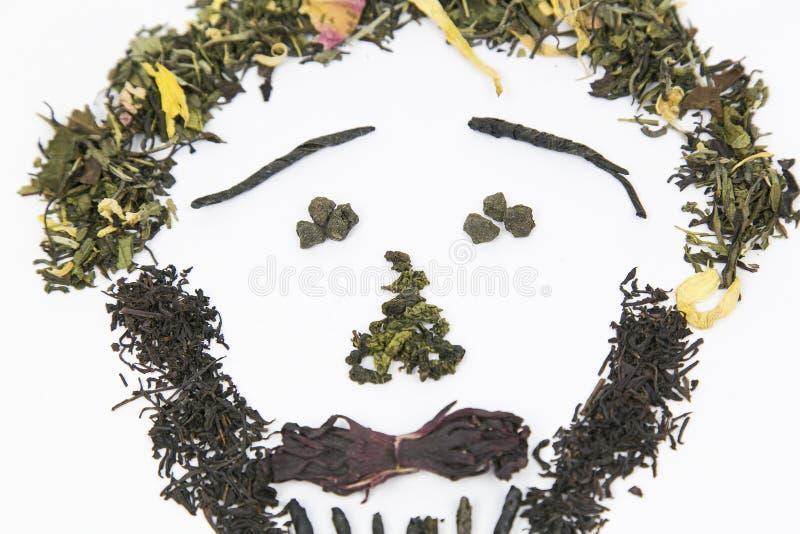 Чай различных разнообразий положен вне на белую предпосылку в форме изображения - стороны ` s персоны! Чернота используемая изобр стоковые изображения