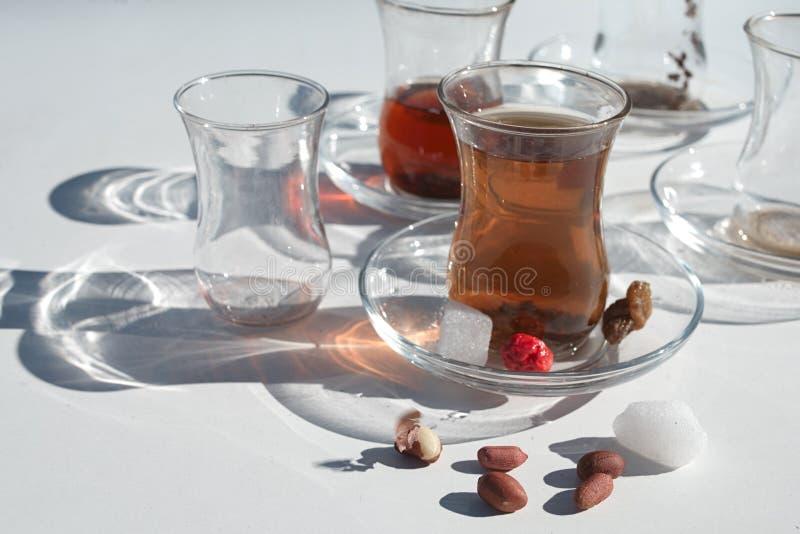 Чай, сахар и арахисы стоковые изображения rf