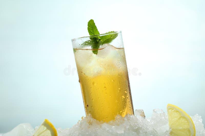 Чай с лимоном и льдом в стекле стоковые фотографии rf