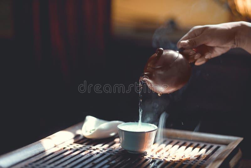 Чай чая мастерский лить в солнечном свете стоковое фото