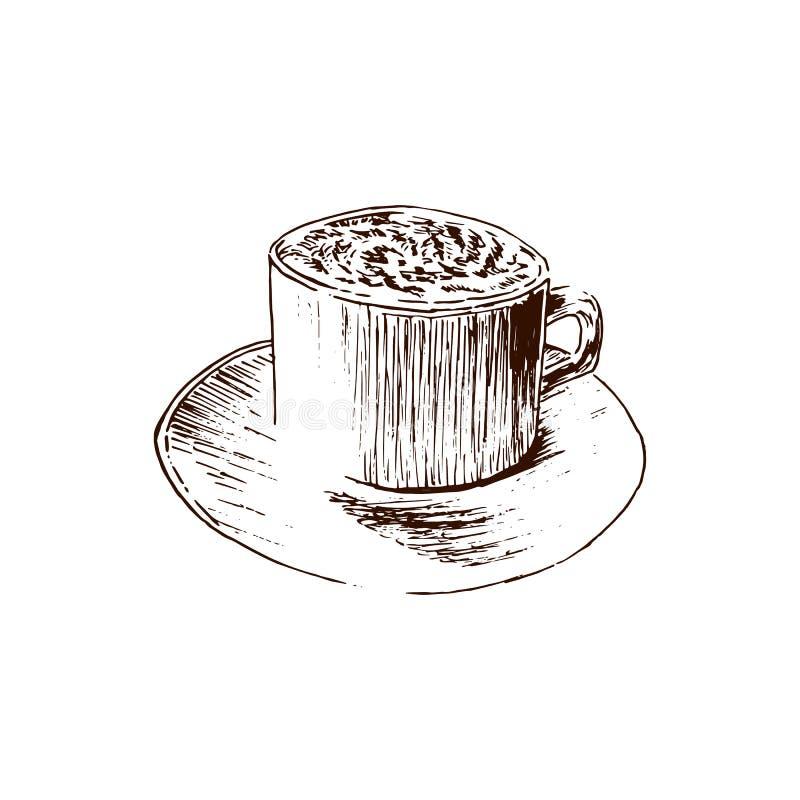 чай элементов конструкции кофе Графическая нарисованная рука придает форму чашки иллюстрация эскиза вектора Взгляд со стороны рет иллюстрация вектора
