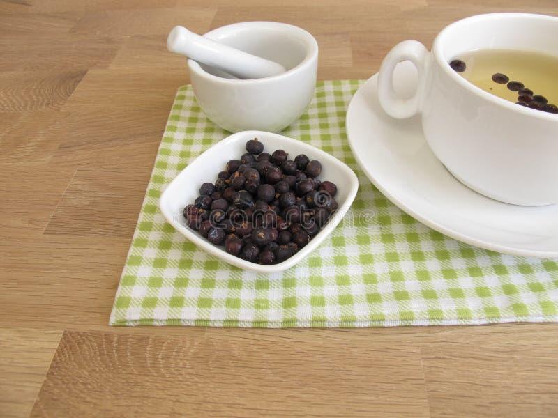 Чай ягод можжевельника и высушенные ягоды можжевельника стоковые фотографии rf