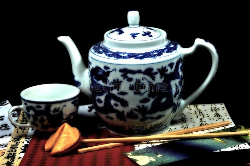 чай oriental установленный стоковые изображения rf