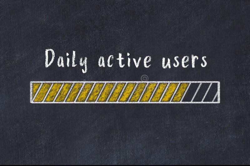Чалк чертеж индикатора хода загрузки с помощью надписи 'ежедневно активные пользователи бесплатная иллюстрация
