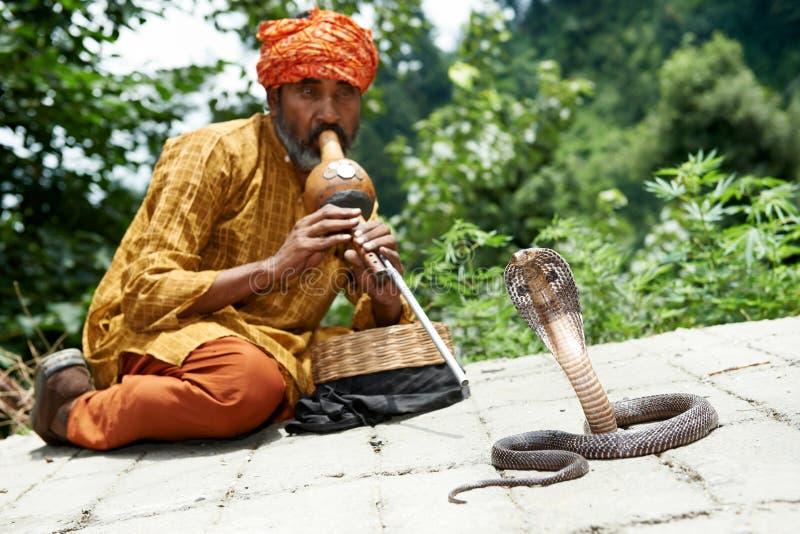 Чаровник змейки в Индии стоковые изображения