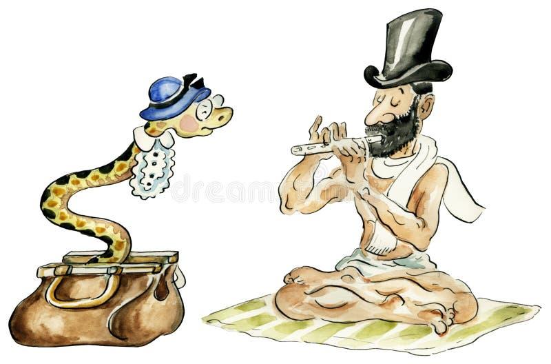 Чаровник змейки и его змейка иллюстрация штока