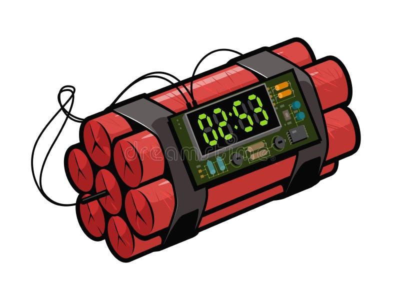 Часовая бомба динамита Ретро стиль искусства шипучки Иллюстрация вектора шаржа шуточная бесплатная иллюстрация