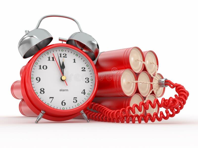 Часовая бомба с детонатором будильника. Dynamit бесплатная иллюстрация
