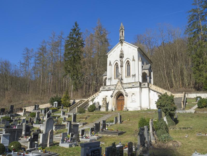 Часовня Максимилиана Святого, барочная церковь со старым кладбищем в S стоковая фотография