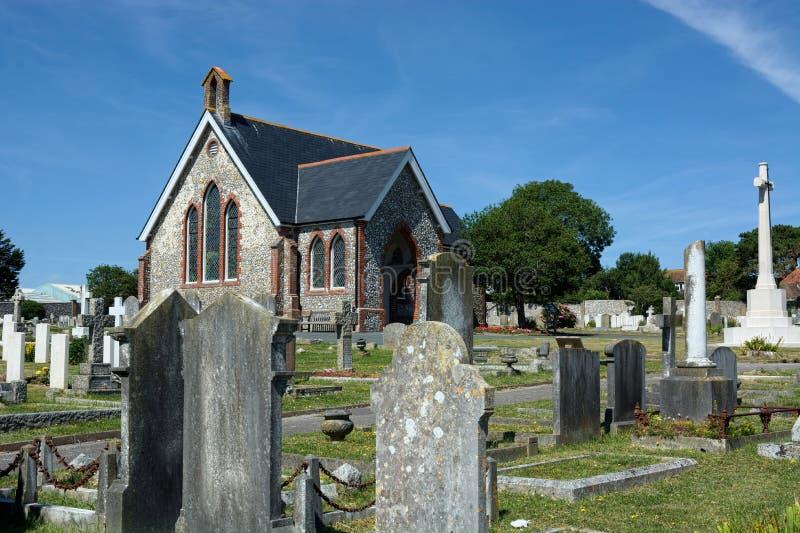 Часовня Seaford & кладбище, Сассекс r стоковая фотография rf