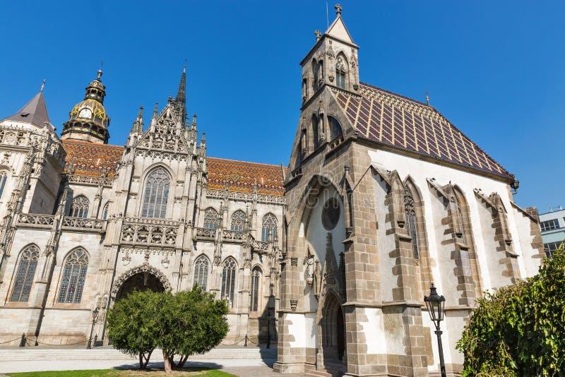 Часовня St Michael и собор St Элизабета kosice Словакия стоковая фотография rf