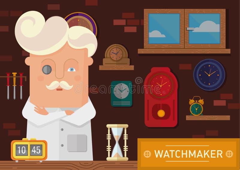 Часовщик в рабочем месте с часами на стене иллюстрация вектора