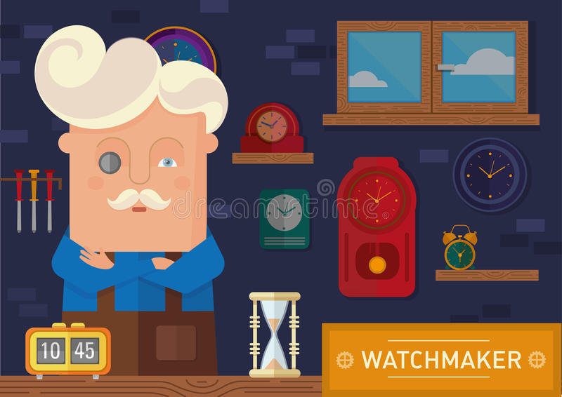 Часовщик в рабочем месте иллюстрация штока