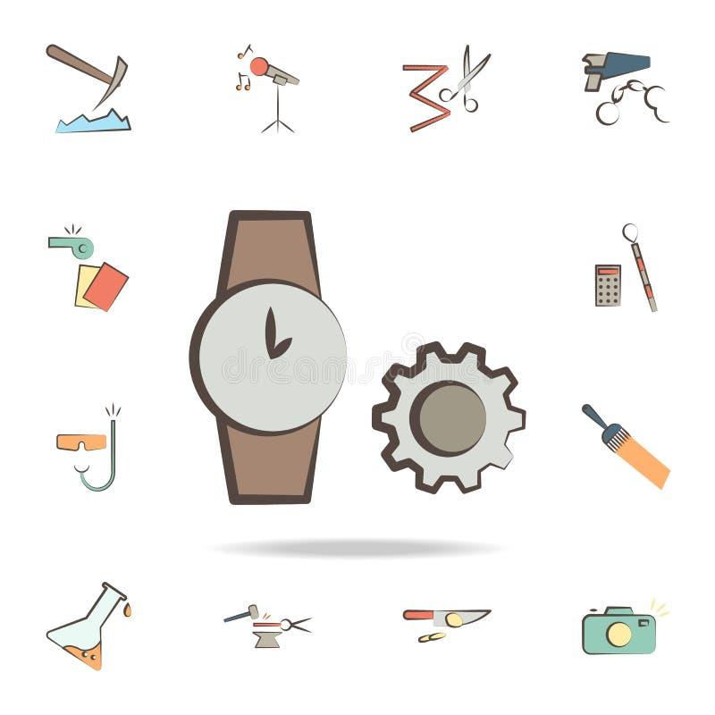 часовщик оборудует значок Детальный набор инструментов различных значков профессии Наградной графический дизайн Один из значков с иллюстрация штока