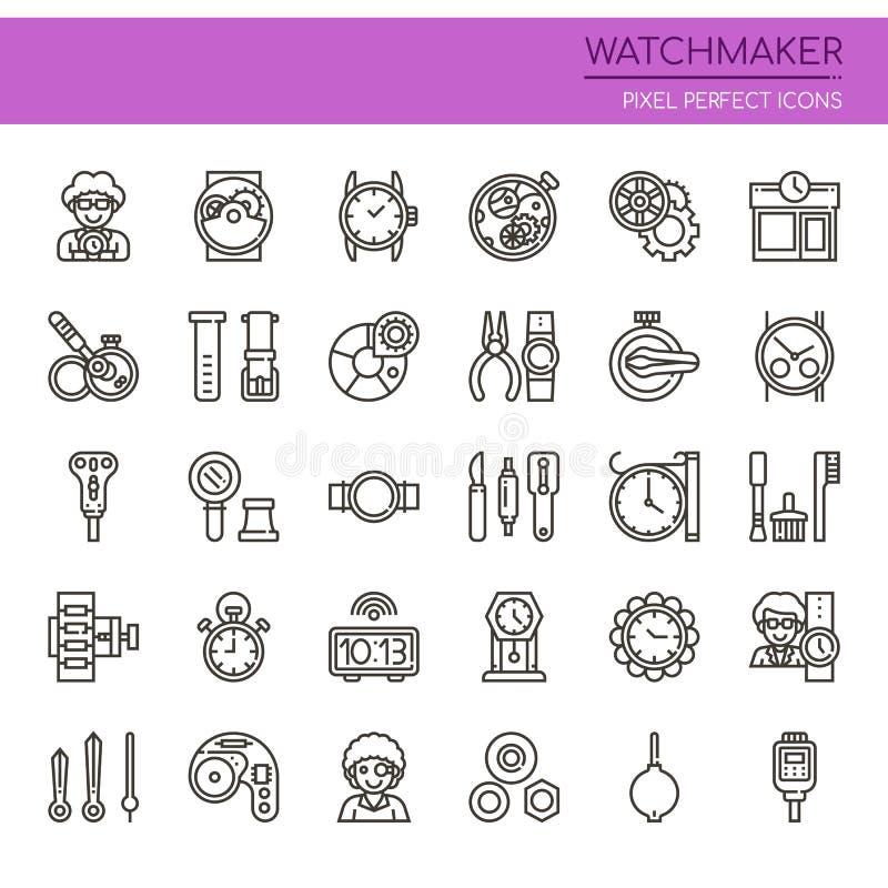 Часовщик, тонкая линия и значки пиксела совершенные бесплатная иллюстрация