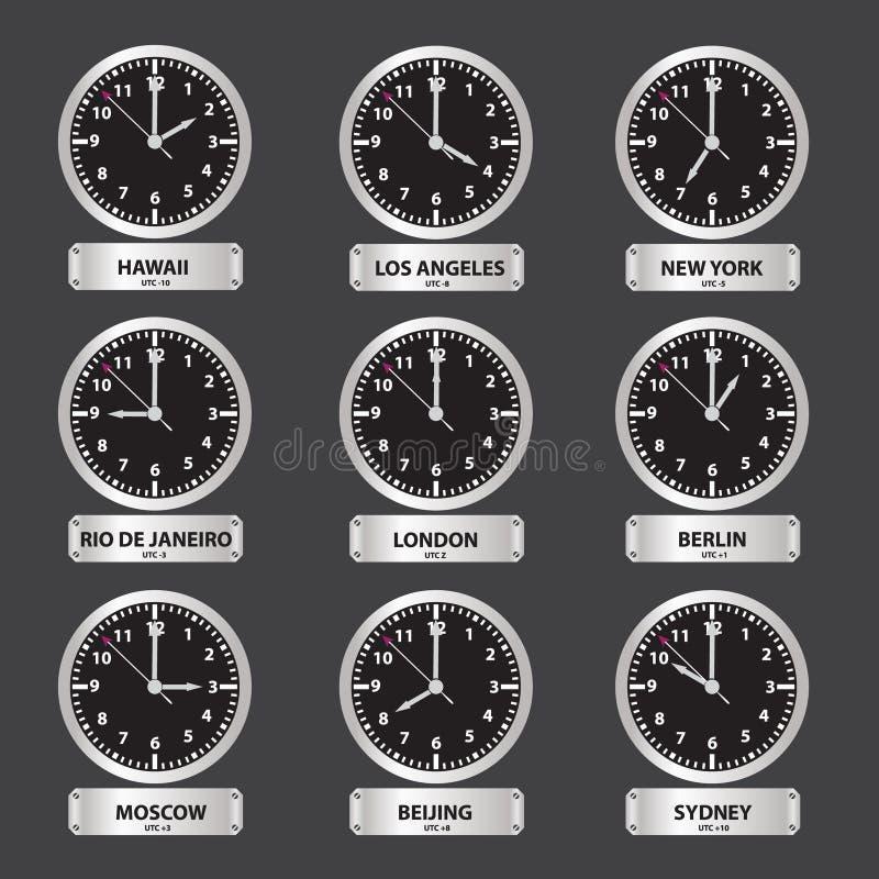 Часовые пояса черные и серебряный комплект часов иллюстрация штока