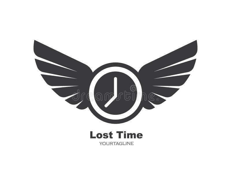 Часов и крыльев логотипа значка времени вектор дизайна иллюстрации вне иллюстрация вектора