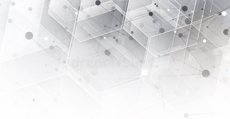 Частица абстрактной технологии Виртуальная предпосылка молекулы Compu бесплатная иллюстрация