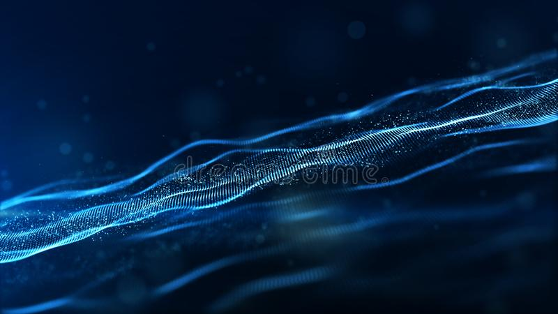 Частицы абстрактного голубого цвета цифровые развевают с bokeh и светлой предпосылкой иллюстрация штока