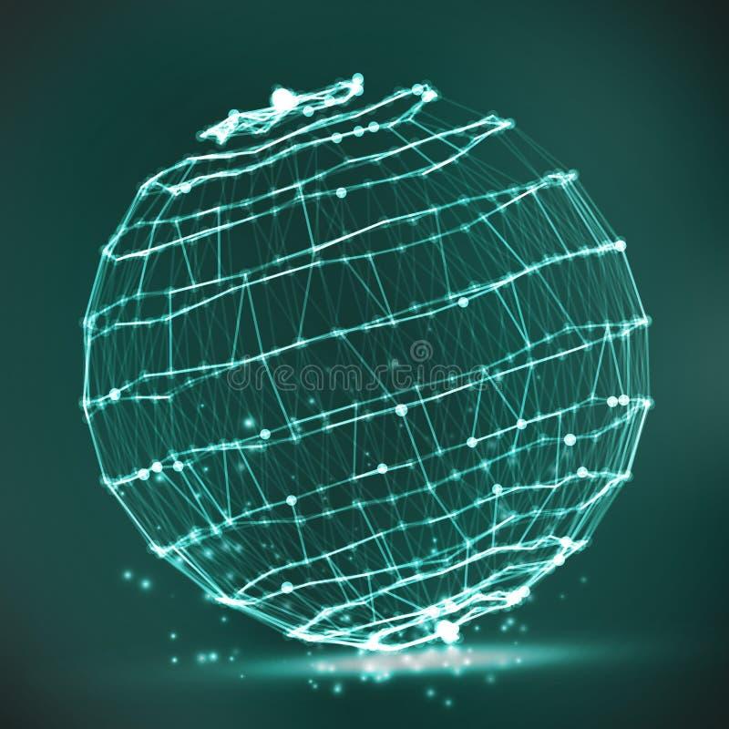 Частицы выплеска Структура соединения Абстрактная форма сферы накаляя кругов и частиц также вектор иллюстрации притяжки corel иллюстрация штока