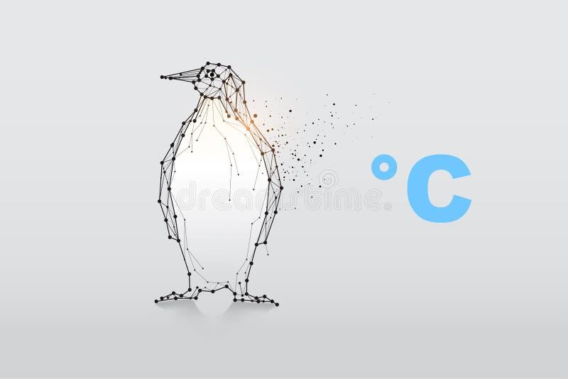 Частицы, геометрическое искусство, линия и точка пингвина иллюстрация штока