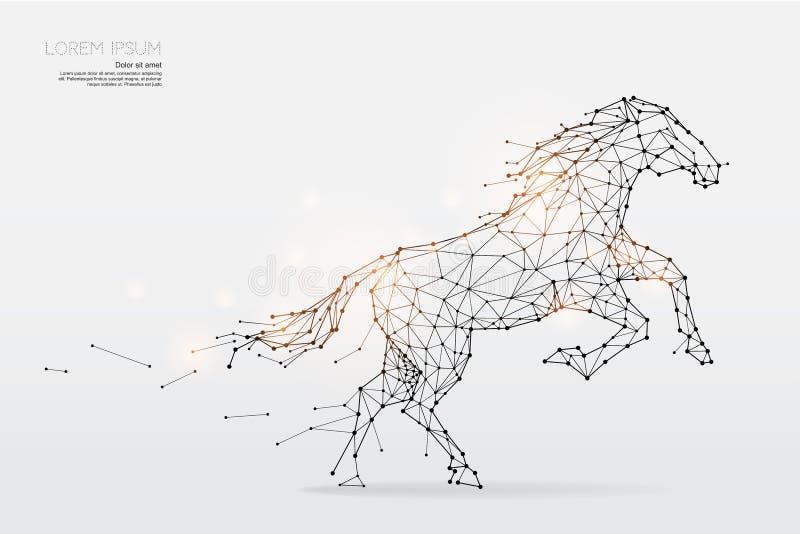 Частицы, геометрическое искусство, линия и точка хода лошади иллюстрация вектора