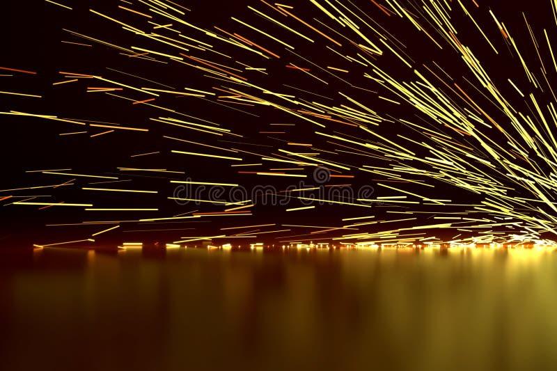 Частицы огня энергии сваривая иллюстрацию предпосылки 3D искр промышленную яркую накаляя стоковое фото rf